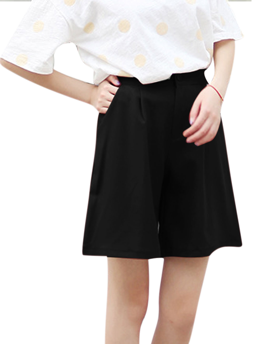 Women Zip Fly Button Closure Pockets Wide Leg Casual Shorts Black S