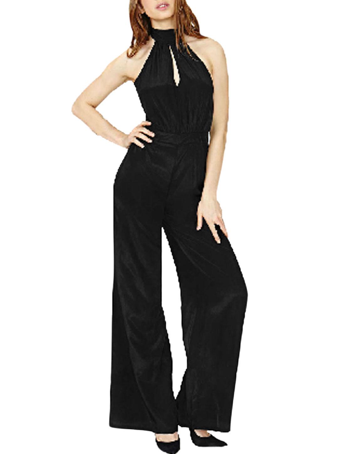 Women Halter Neck Sleeveless Backless Wide Legs Jumpsuits Black M