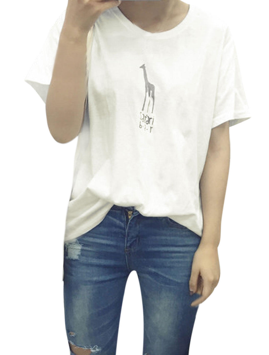 Woman Giraffe Letters Prints Front Round Neck Short Sleeves T-shirt White XS