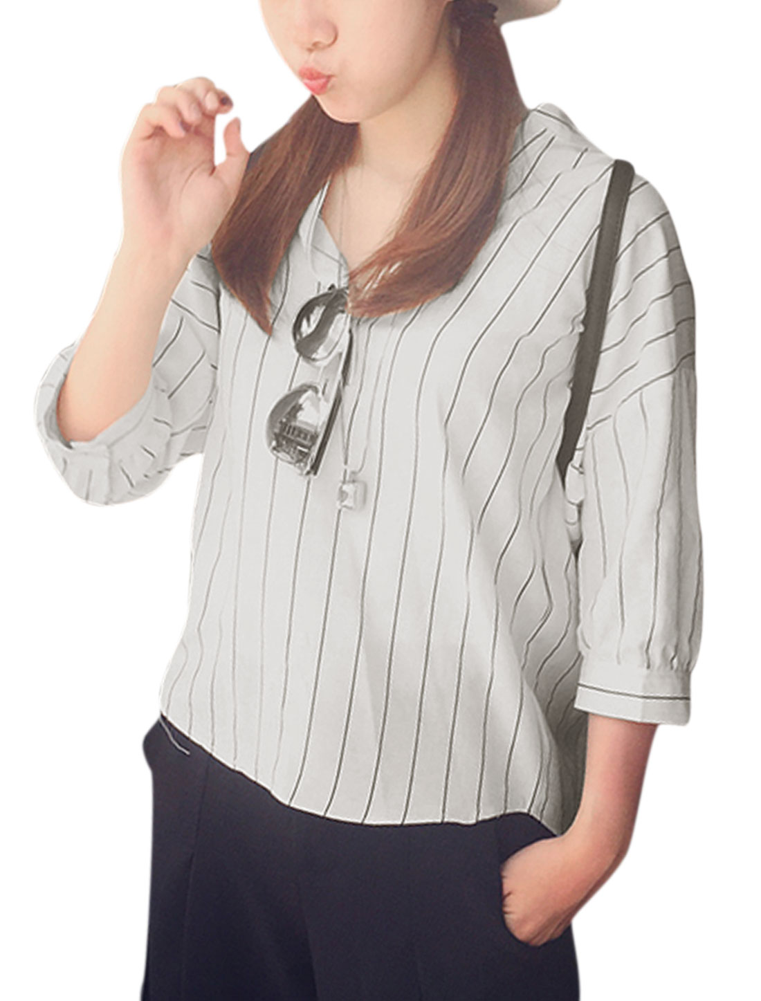 Women Stand Collar 3/4 Sleeves Vertical Stripes Casual Shirts White XS