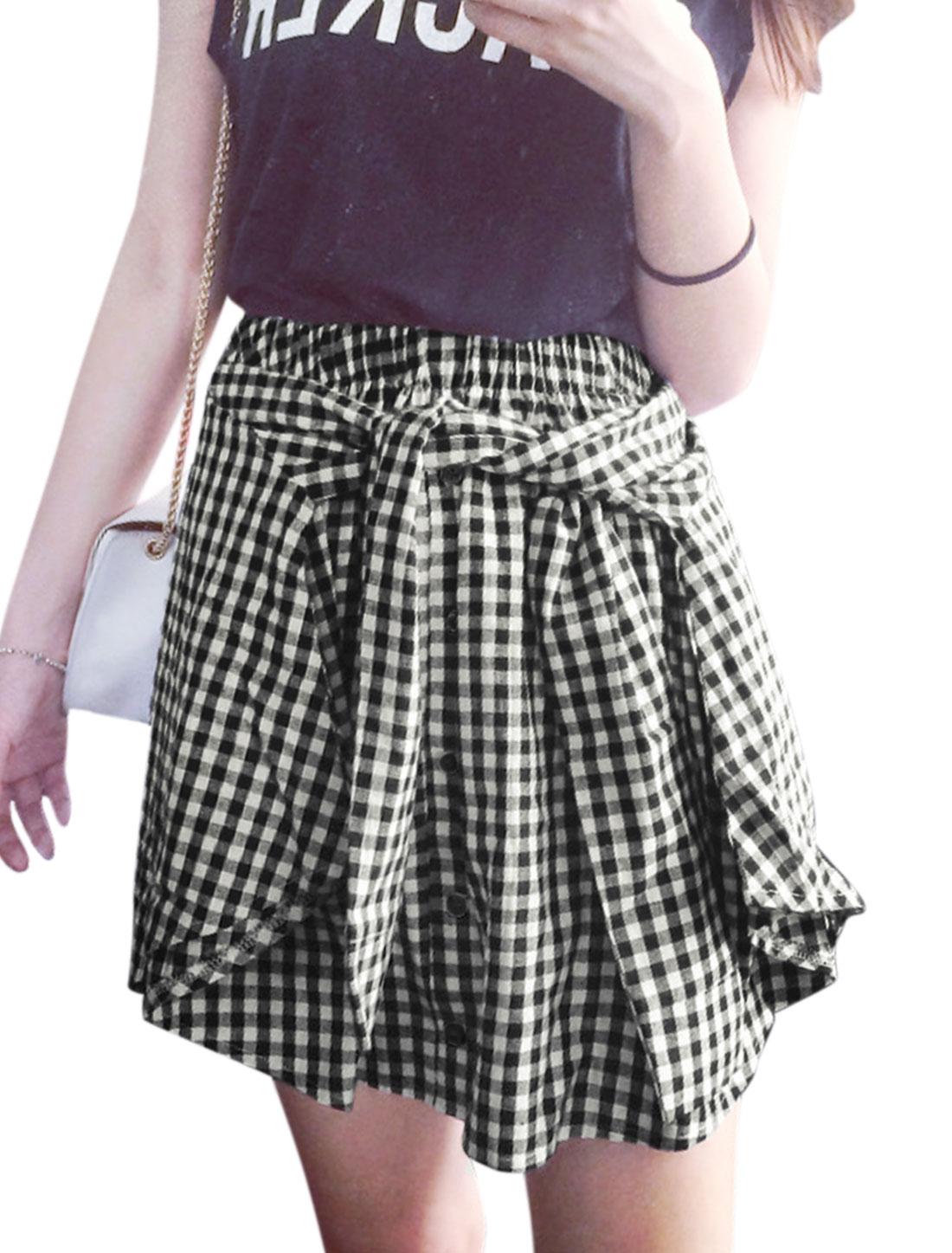 Woman Plaids Elastic Waist Button Decor Front Self Tie A Line Skirt Black White XS