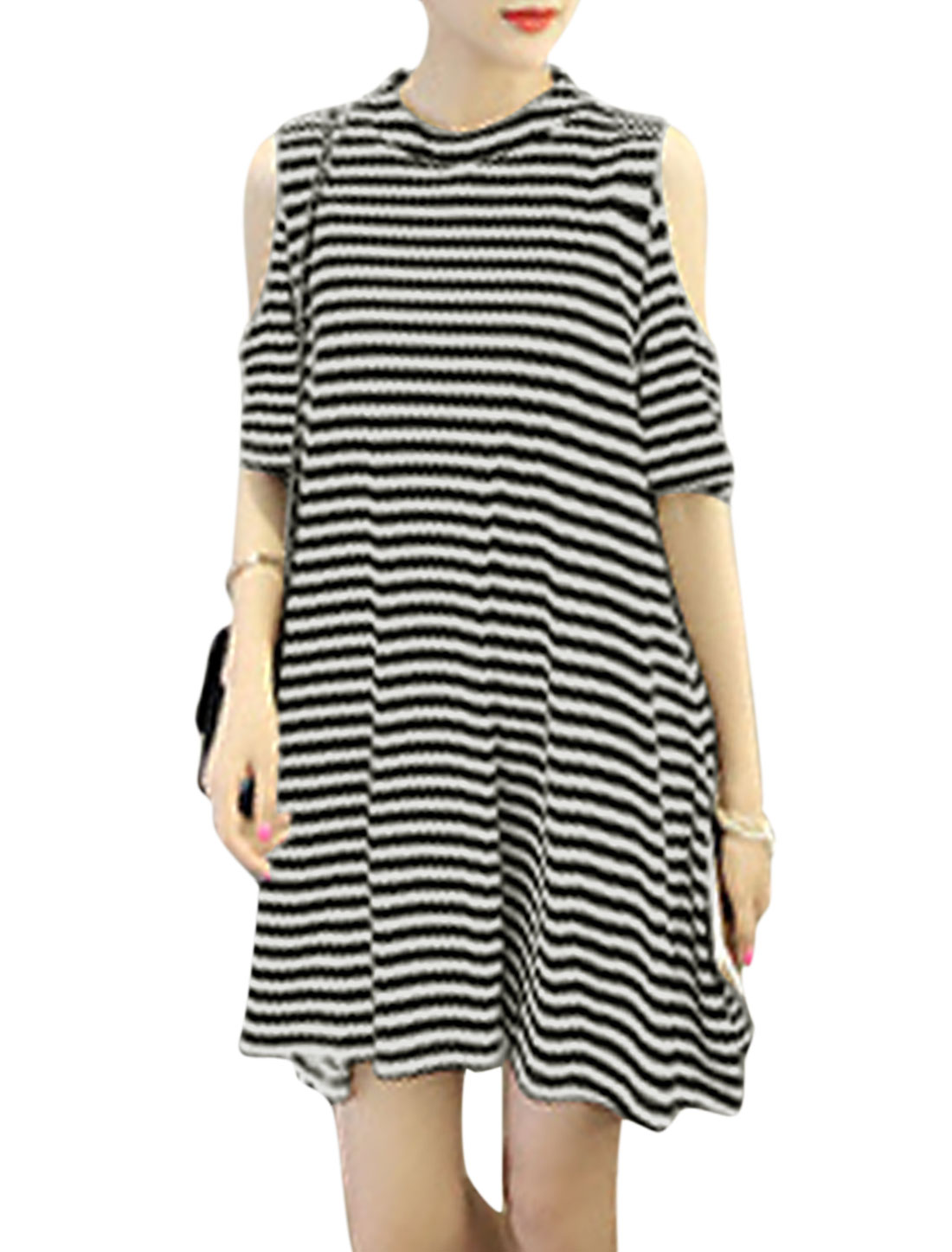 Women Stand Collar Stripes Cut Out Elbow Sleeves A-Line Dress Black White XS
