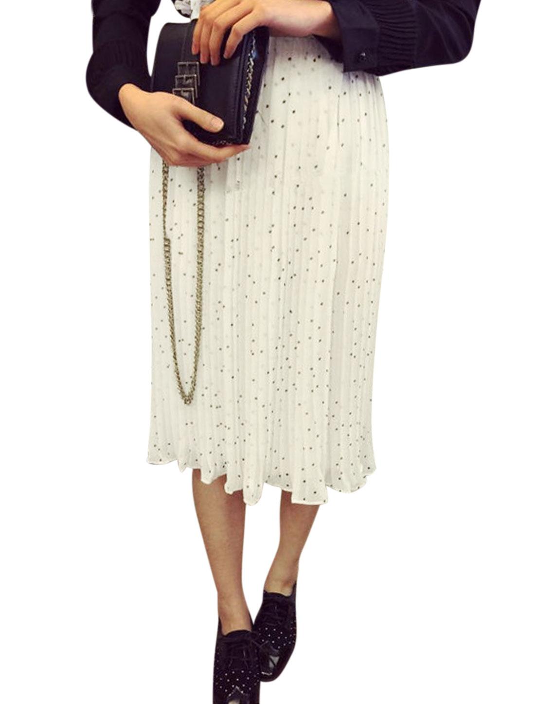 Lady Dots Prints Ruffled Waist Partially Lined Chiffon Pleated Skirt White XS