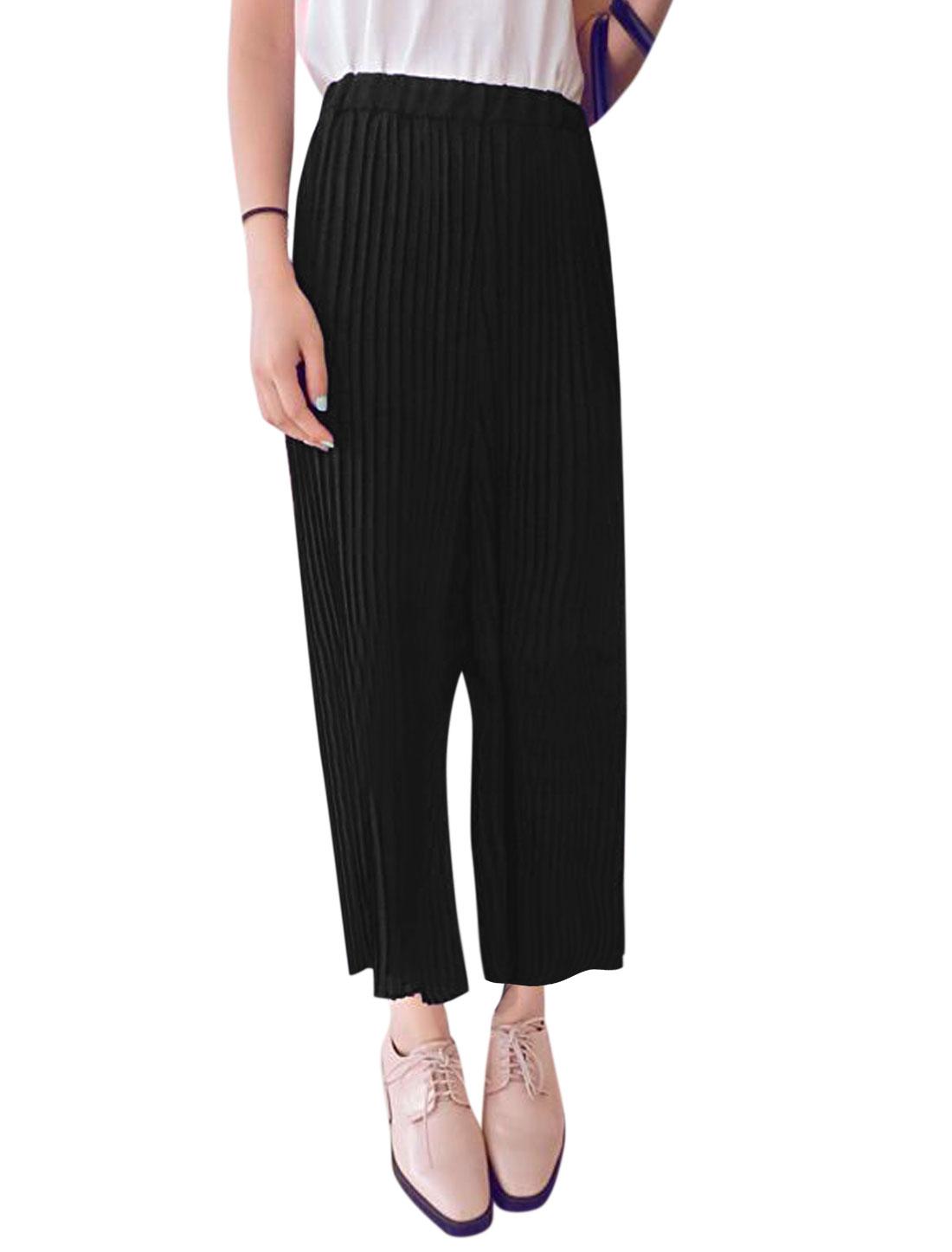 Woman Stretchy Waist Pleated Chiffon Wide Leg Cropped Pants Black XS
