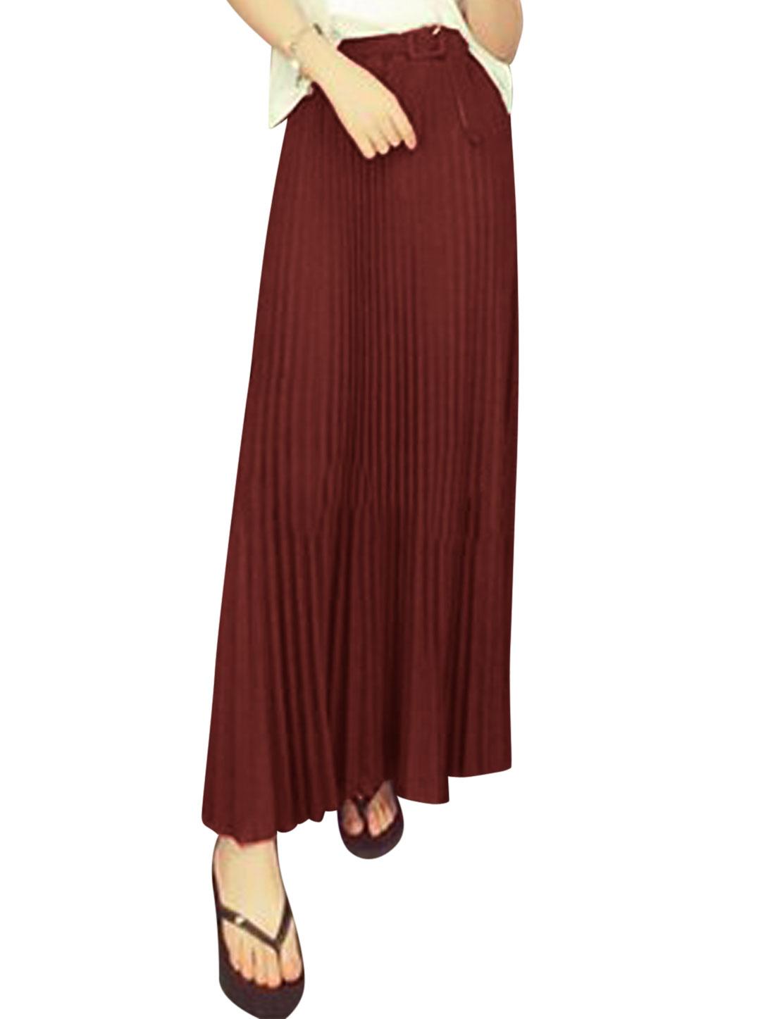 Women Mid Rise Elastic Waist w Belt Casual Maxi Skirt Burgundy XS