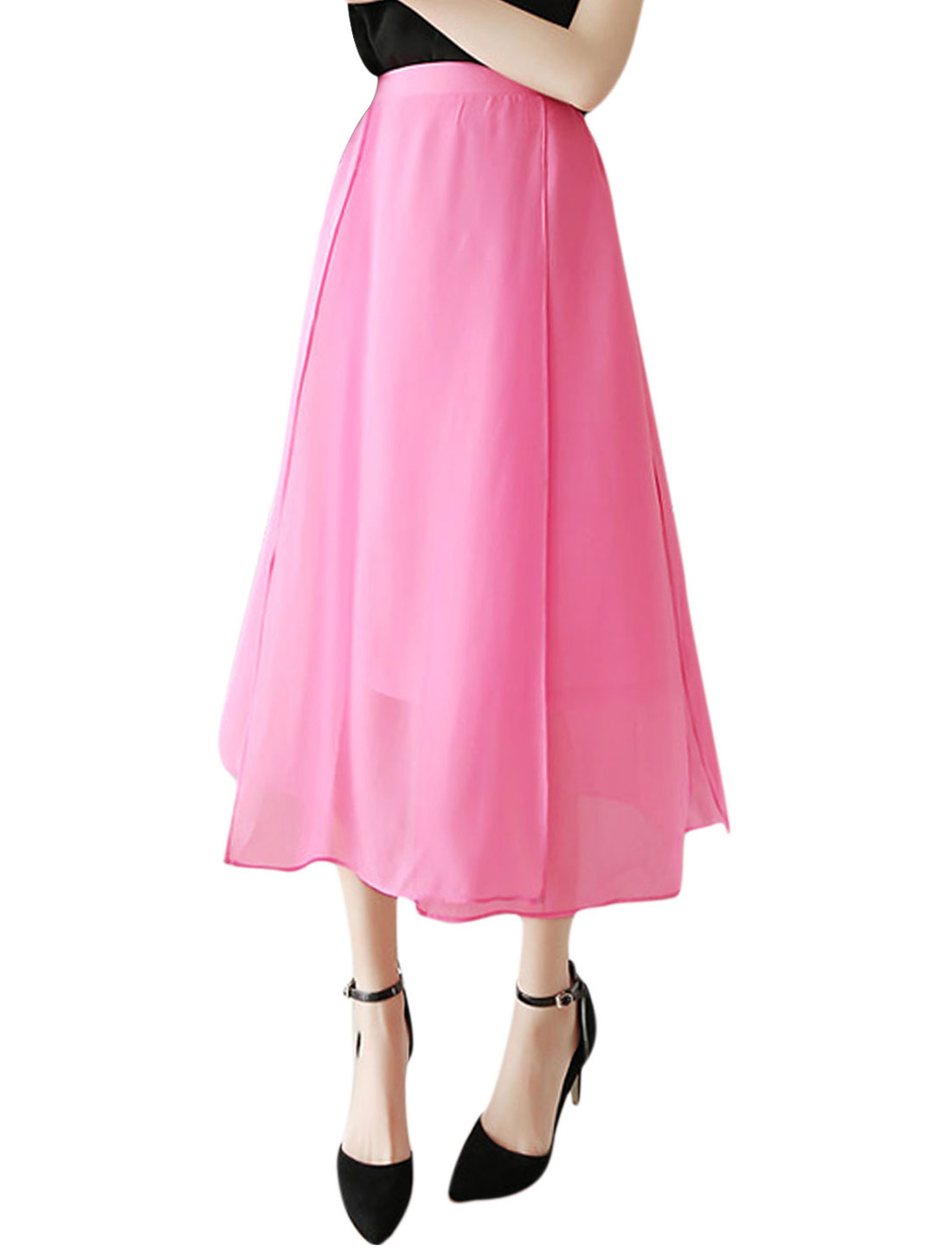 Women Mid Rise Elastic Waist Layered Fully Lined Summer Skirt Fuchsia M