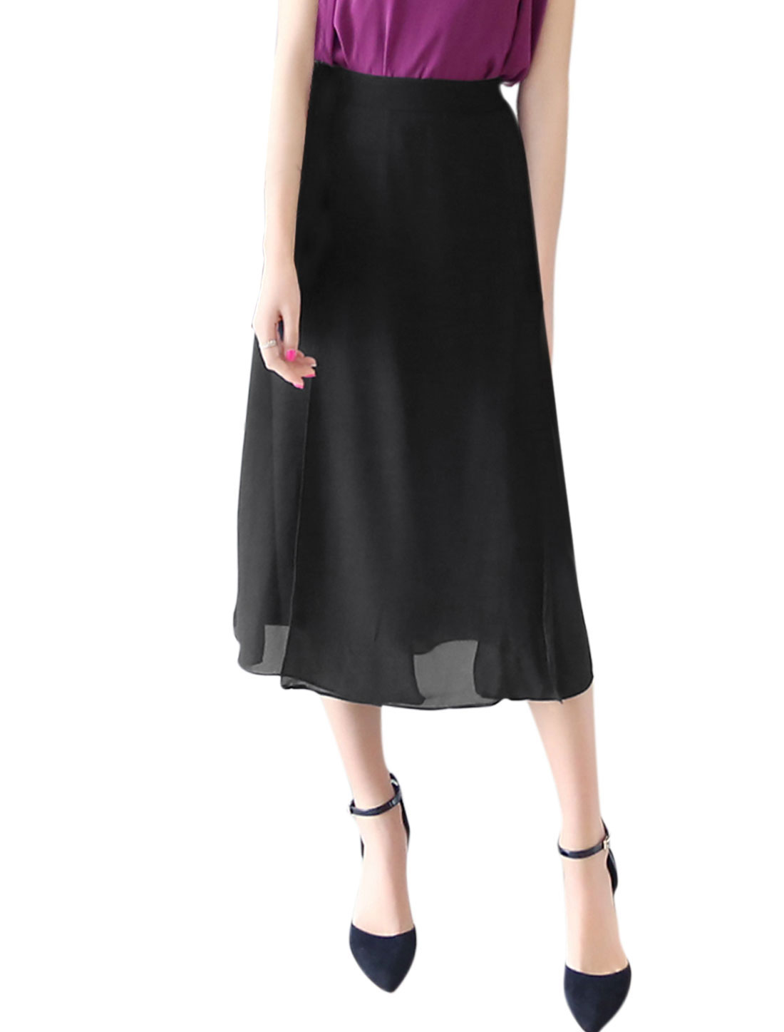 Women Mid Waist Layered Fully Lined Summer Casual Skirts Black M
