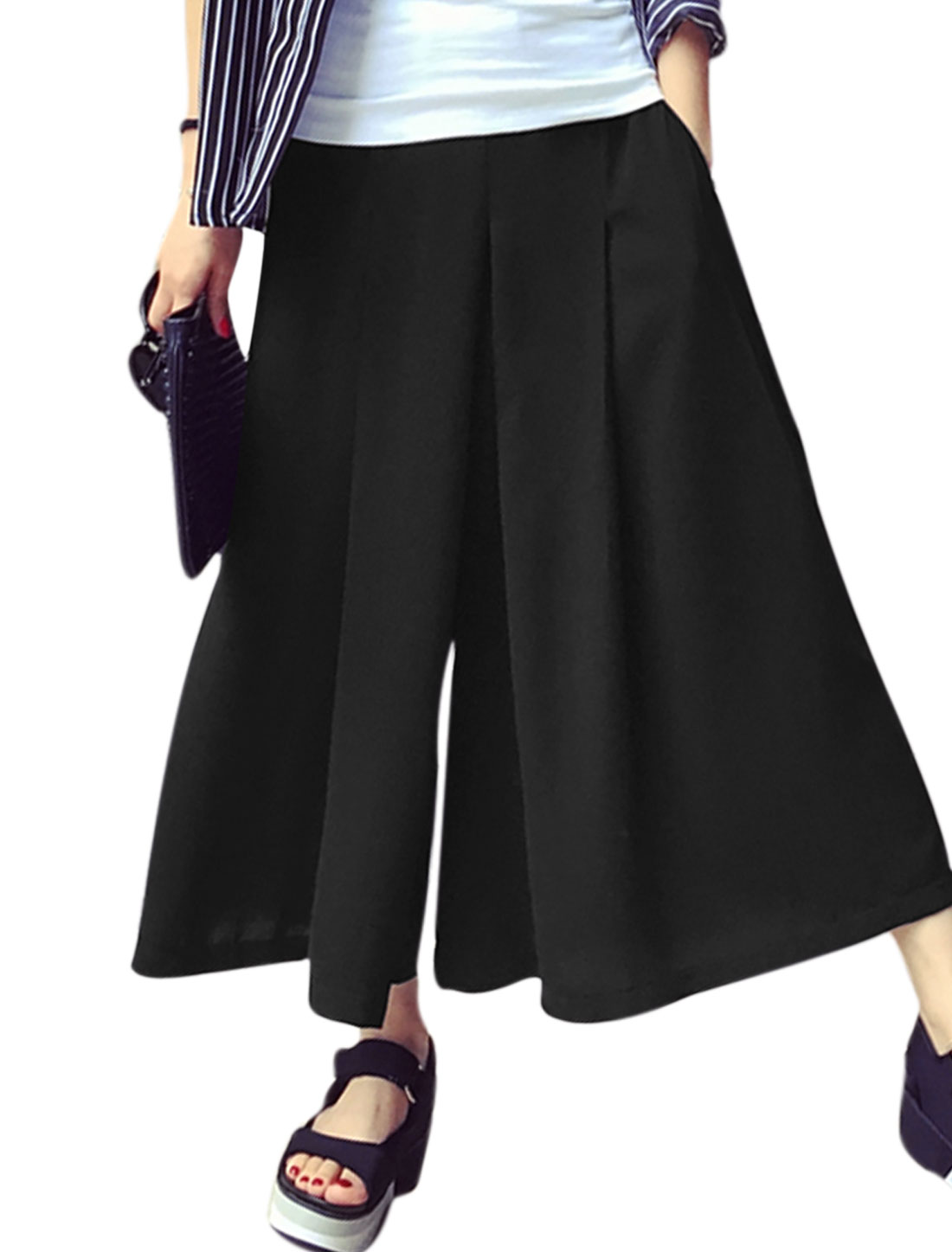 Women Elastic Waist Two Slant Pockets Mid Rise Wide Leg Capri Pants Black M