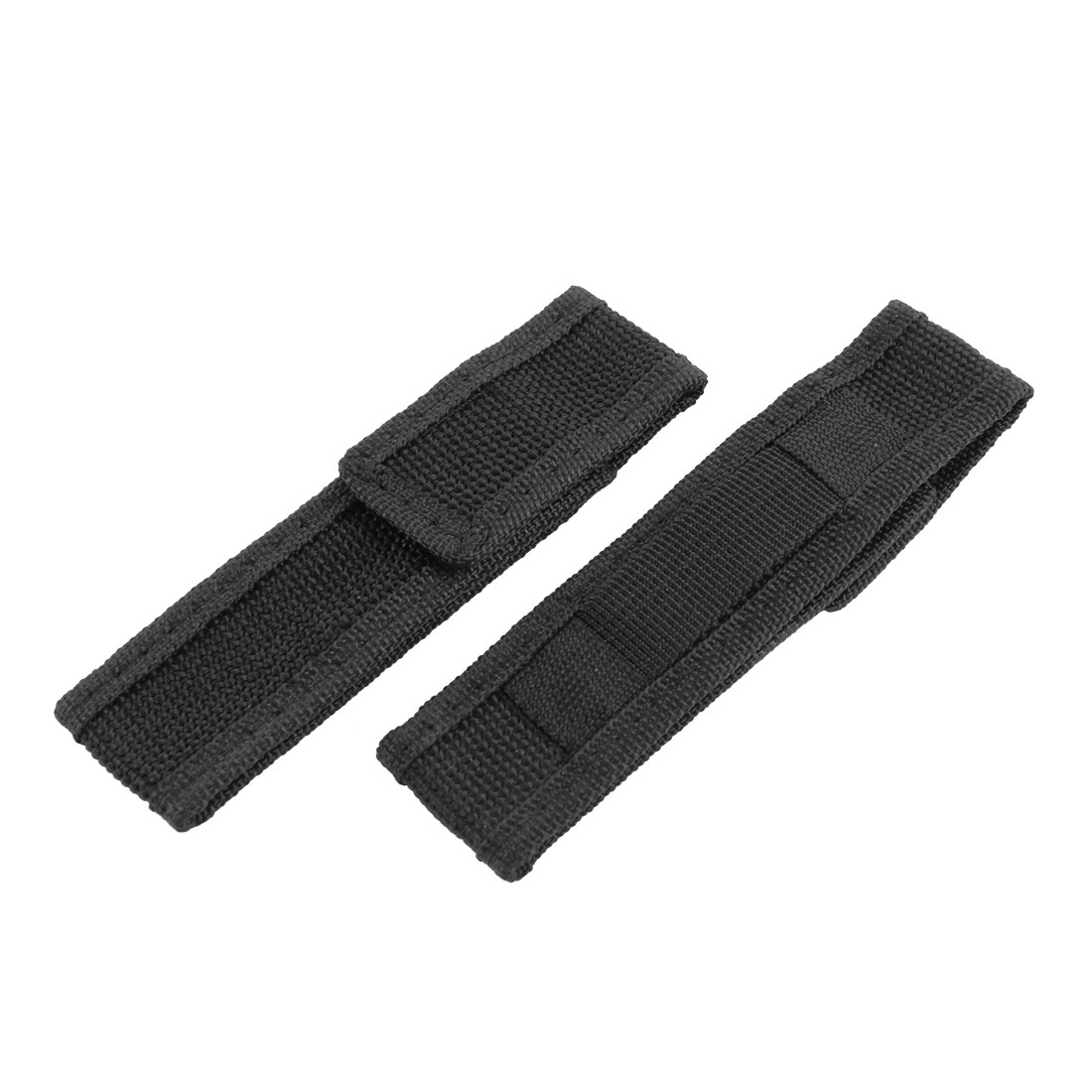 2PCS Camping Black Nylon Hook Loop Fastener Closure Flashlight Pouch Bag Case