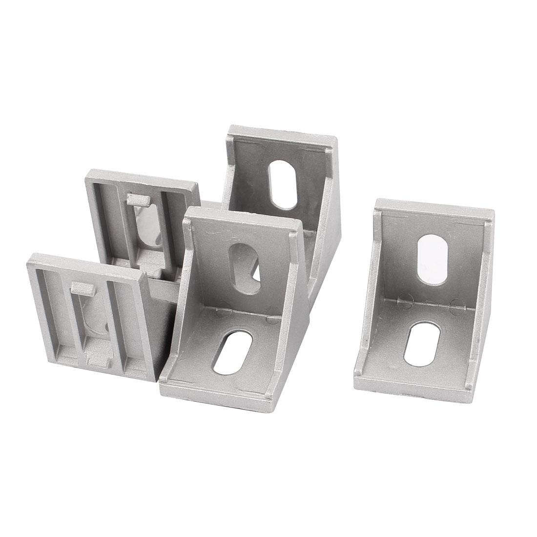 Silver Tone 40mmx40mm 2 Holes 90 Degree Corner Brace Angle Bracket 5Pcs