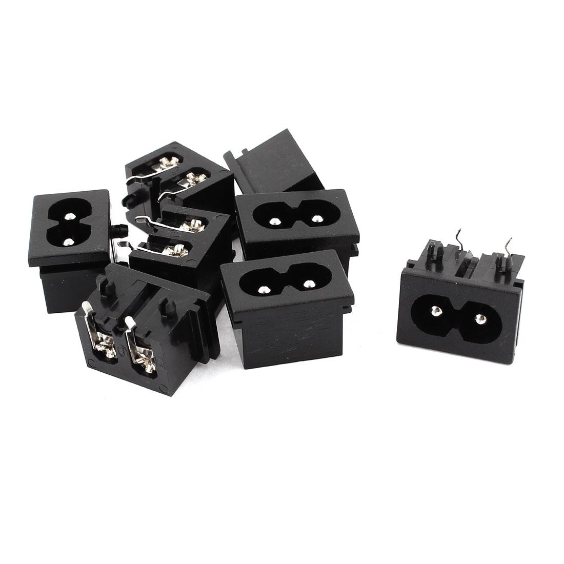 AC 250V 2.5A IEC320 C8 Male PCB Mount Inlet Power Socket Black 8Pcs
