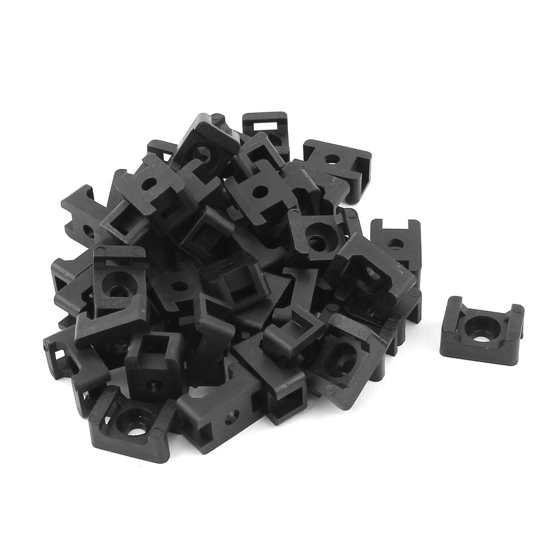 45pcs Black Plastic Screw Mounts Saddles Bases Cable Tie Cradle Holder
