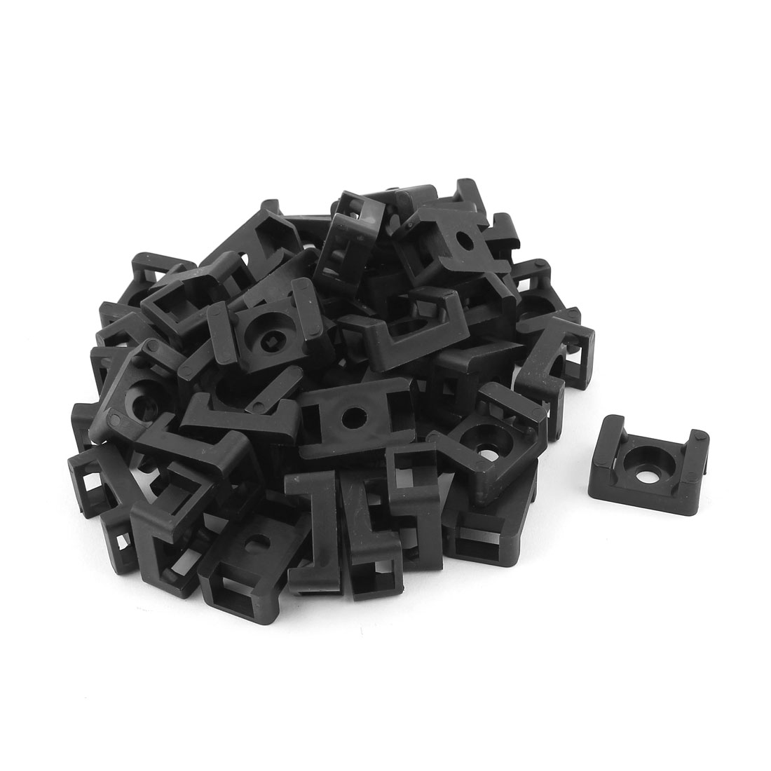 9mm Max Tie Width Cable Screw Mount Saddles Bases Cradle Holder Black 100pcs