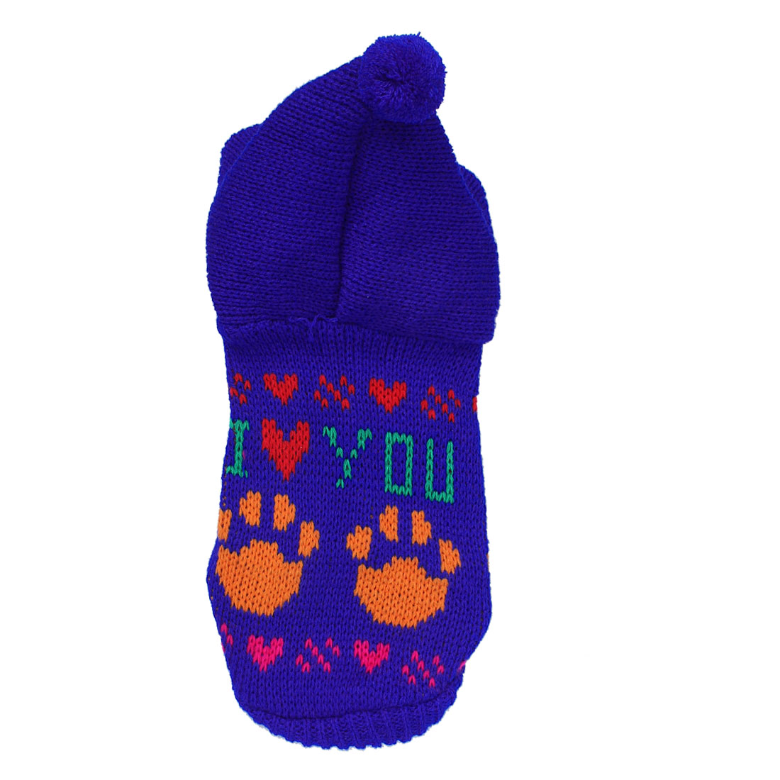 Blue Knitted Hooded Paw Heart Pattern Pet Dog Yorkie Cat Apparel Sweater XXS