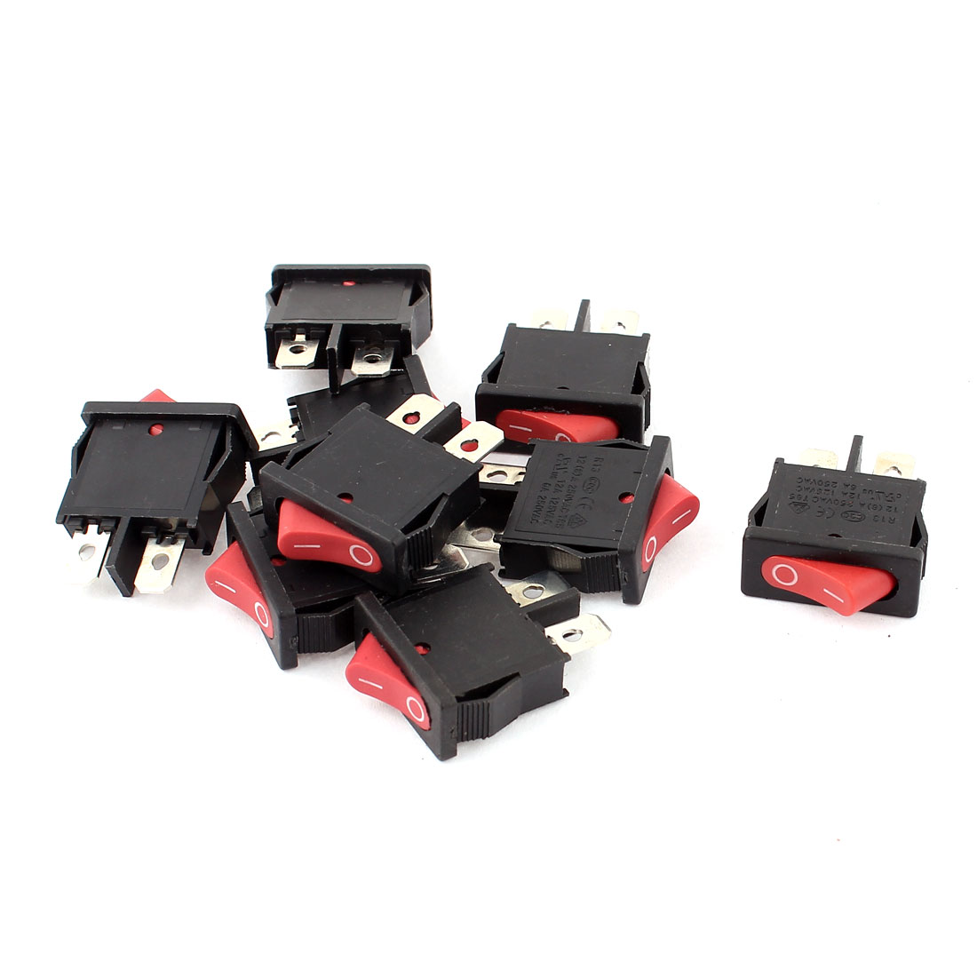 AC 250V 12(8)A SPST 2 Terminals ON/OFF Snap In Boat Rocker Switch 9pcs