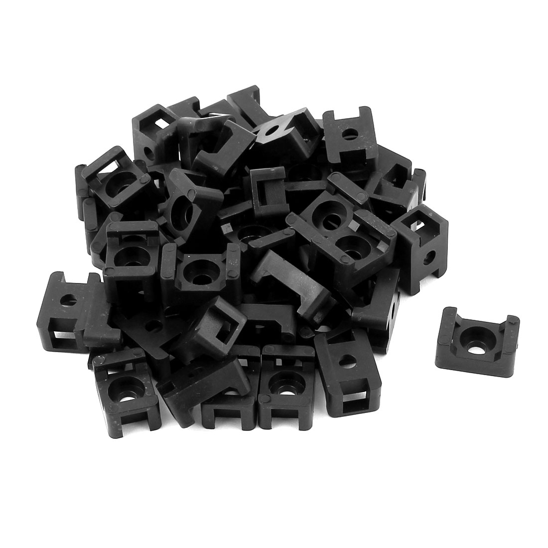 50pcs Black Plastic Screw Mounts Saddles Bases Cable Tie Cradle Holder