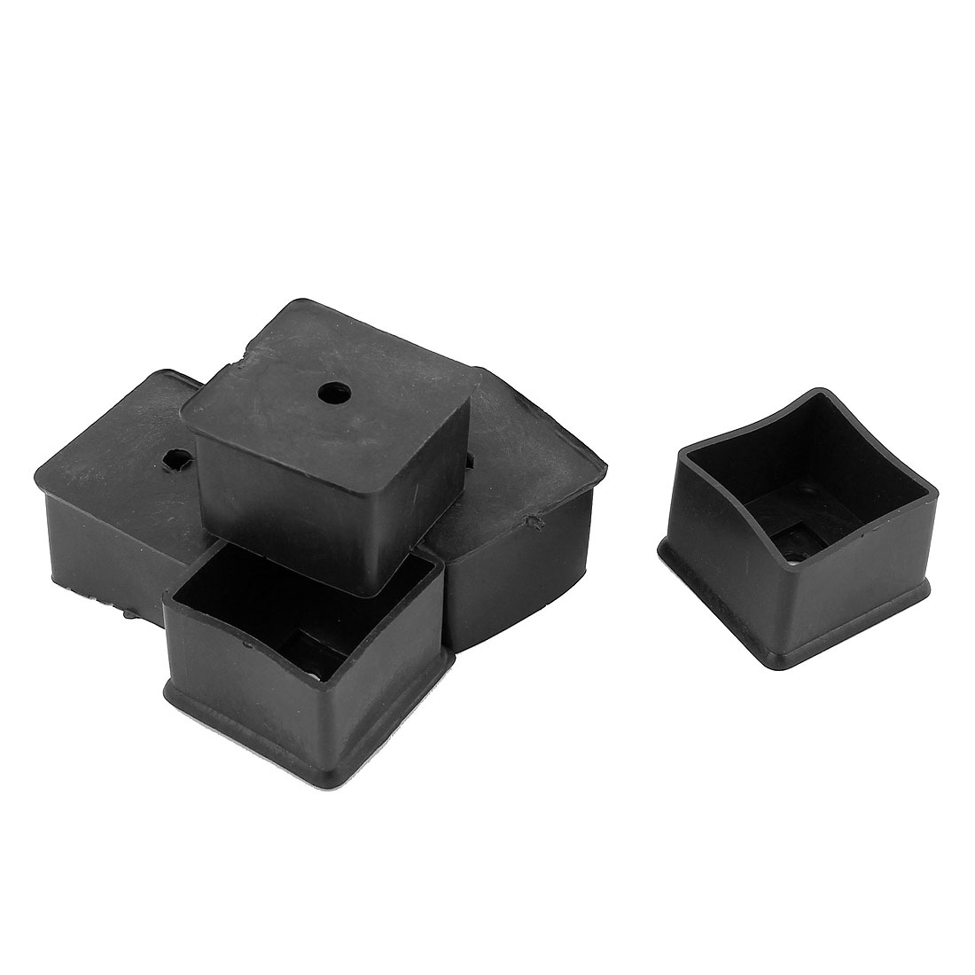 Furniture Legs 40mmx40mm Square Shaped Rubber Foot Guard Covers Black 5 Pcs