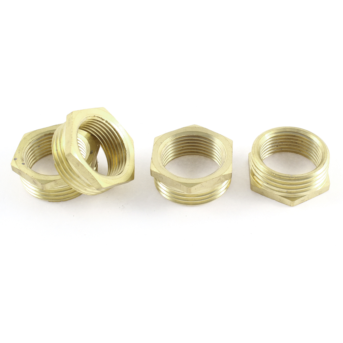 1BSP Male x 3/4BSP Female Brass Pipe Water Gas Reducer Hex Bushing Fitting 4 Pcs