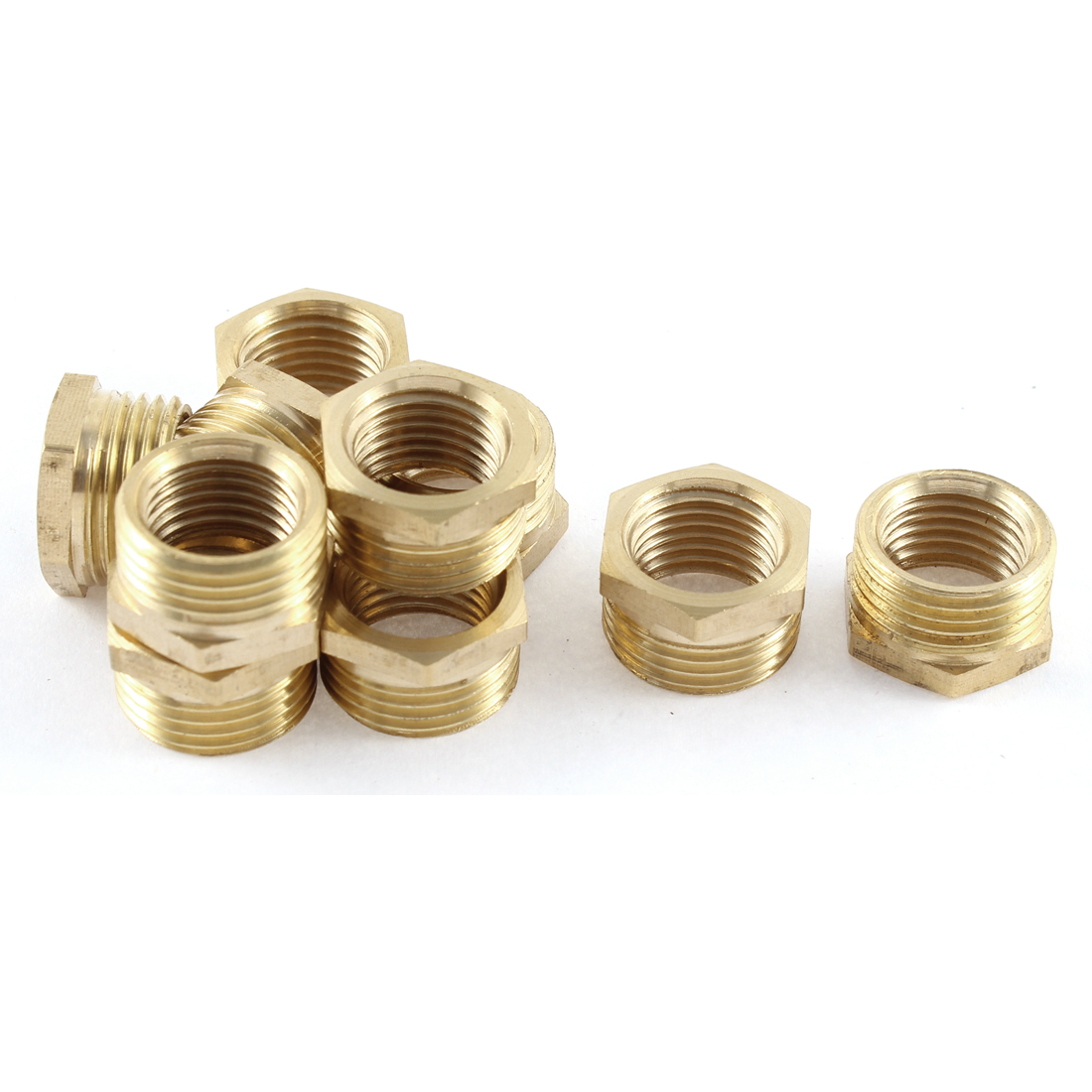 3/8BSP Male x 1/4BSP Female Brass Pipe Water Reducer Hex Bushing Connector 10 Pcs