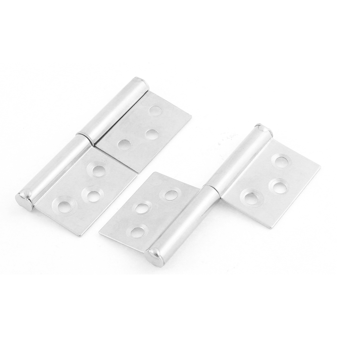 "2pcs 3"" Long Silver Tone Rectangle Stianless Steel Security Butt Hinge for Cabinet Drawer Door"