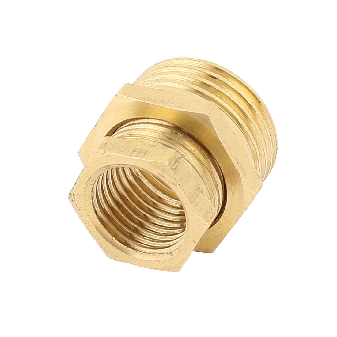2 in 1 1/2BSP Male x 1/4BSP Female Brass Air Pipe Fittings Reducer Hex Bushing Adapter Caps Gold Tone
