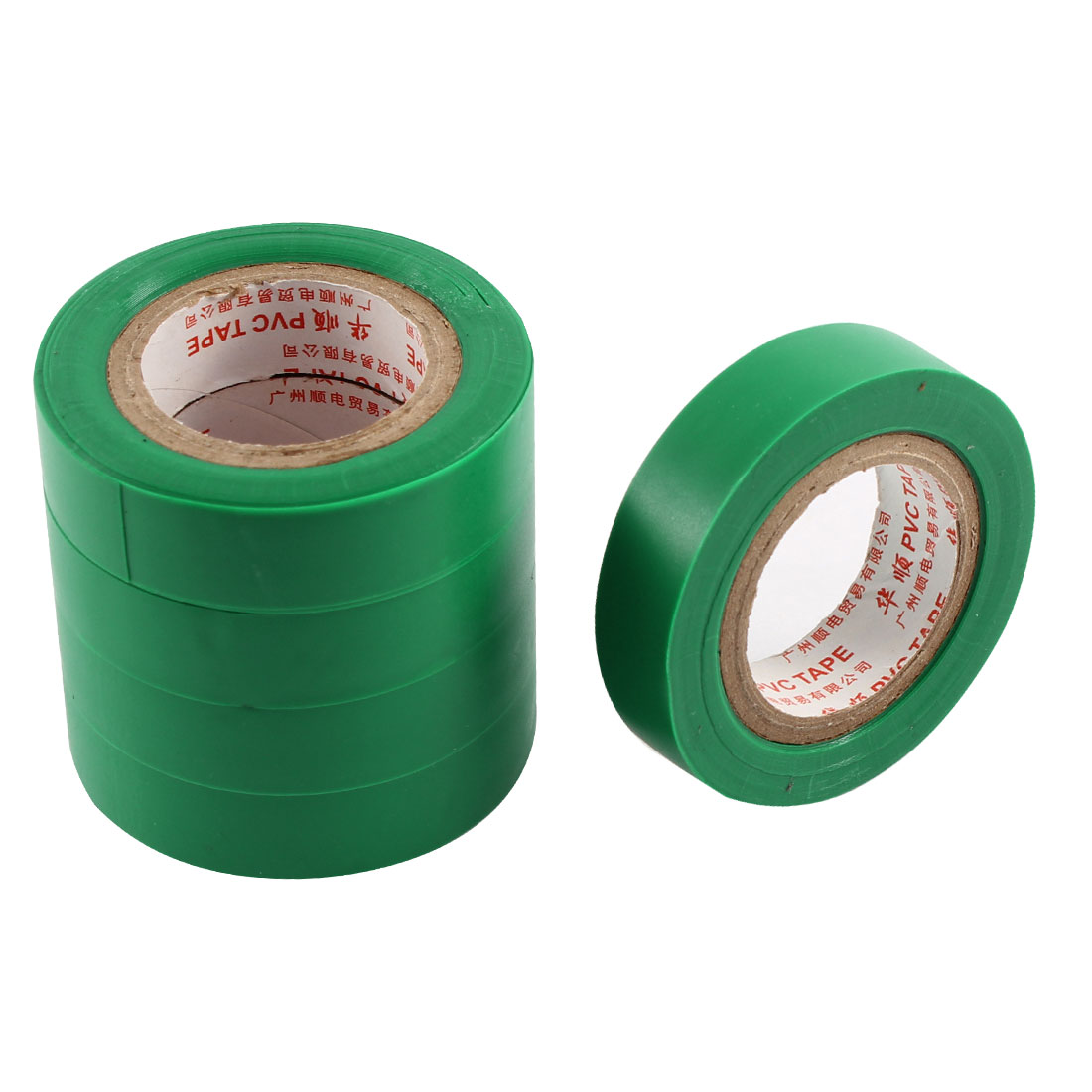 5pcs 14mm Width Green PVC Adhesive Electrical Wire Insulation Tape Roll