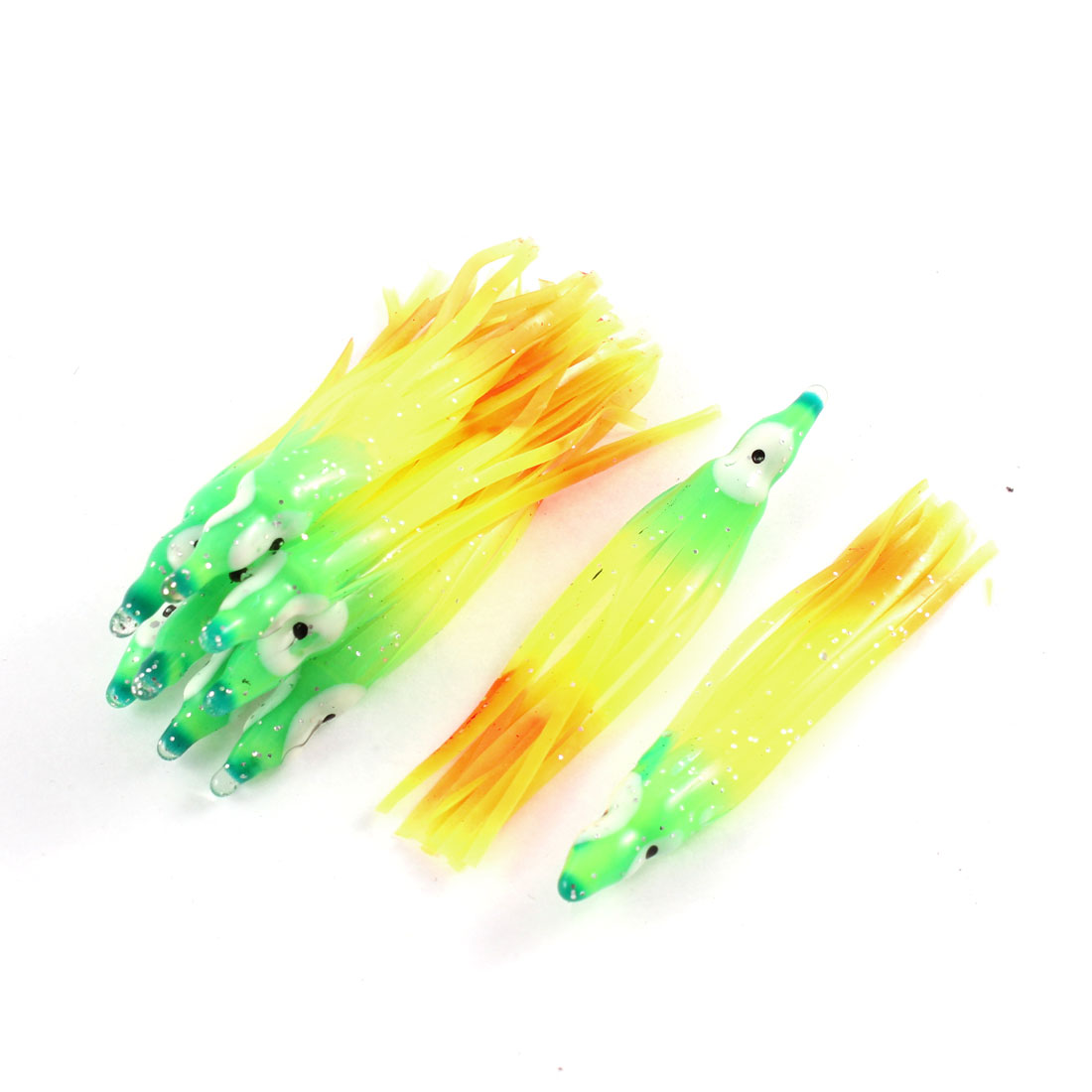 10pcs Yellow Orange Green Silicone Emulational Octopus Design Fishing Baits Lure Fish Tackle Tool for Fisherman