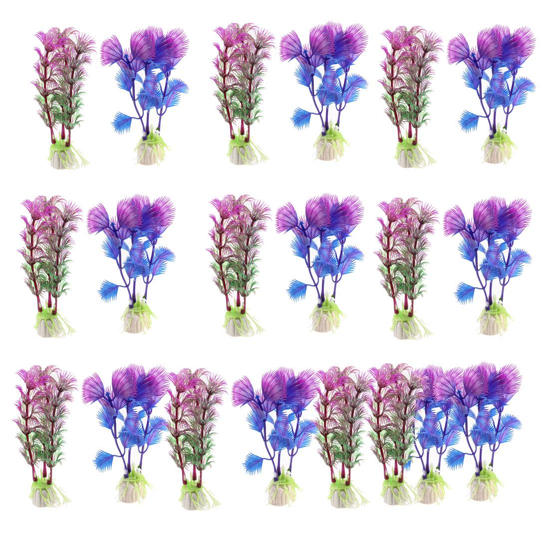 20pcs Purple Blue Plastic Artificial Aquarium Plant Aquatic Grass Decor w Ceramic Base for Fish Tank