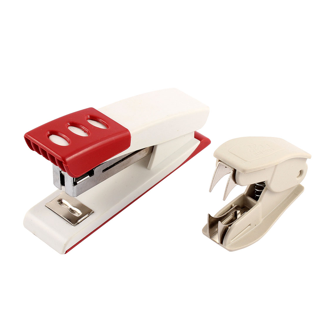 Papers Book Stapling 2 in 1 Red White Plastic Shell Stapler Beige Staple Remover for School
