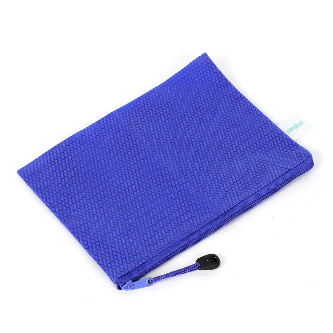 Blue Zipper Closure Paper Doucument File Pen Bag Folder Holder Organizer Pouch w Strap