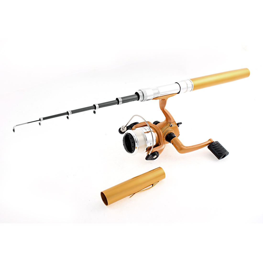 80cm Long Telescopic Travel Pen Shaped 5 Section Fishing Rod Camping Spinning Fish Pole Reel