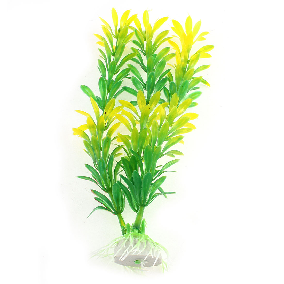 "Fish Tank Green Yellow Artificial Aquarium Plant Aquatic Grass Deocr 8"" 20cm Height w Ceramic Base"