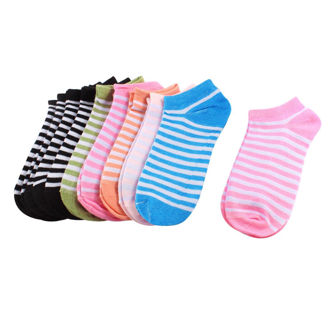 Girls Stripe Pattern Elastic Footsie Style Low Ankle Boat Socks MultiColor 10 Pairs