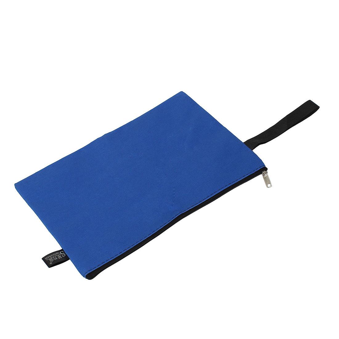 Office School Zipper Closure A5 Paper Document File Pen Bag Holder Organizer Pouch Blue w Strap