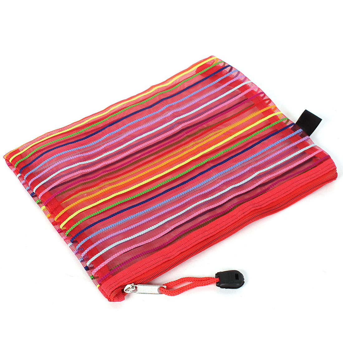Red Meshy Style Multicolor Stripes Zippered A5 Paper Doucument File Pen Bag Folder Holder Organizer Pouch