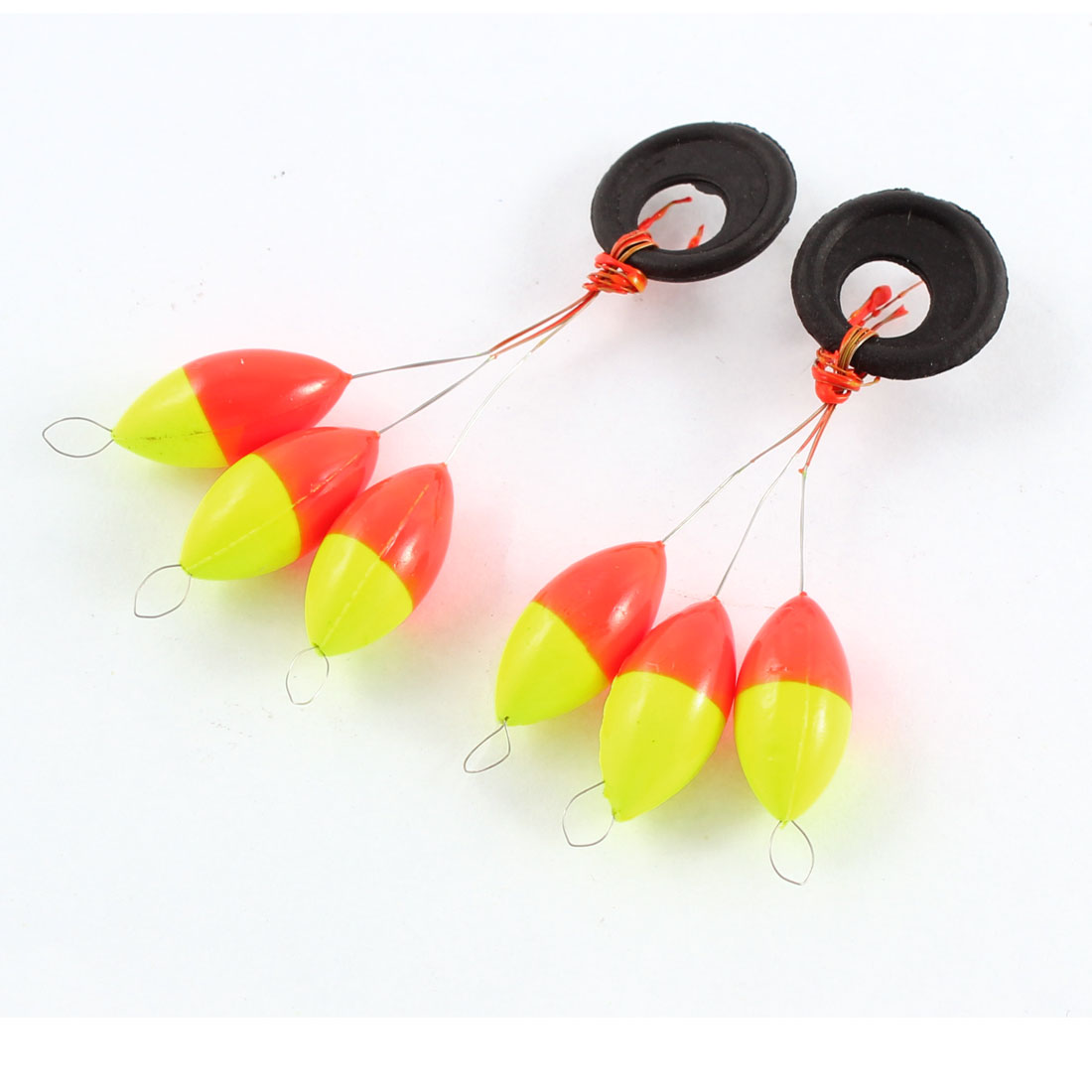 2PCS Yellow Red Oval Shaped Plastic Bead Fishing Floater Bobber Stopper Fish Tackle Tool