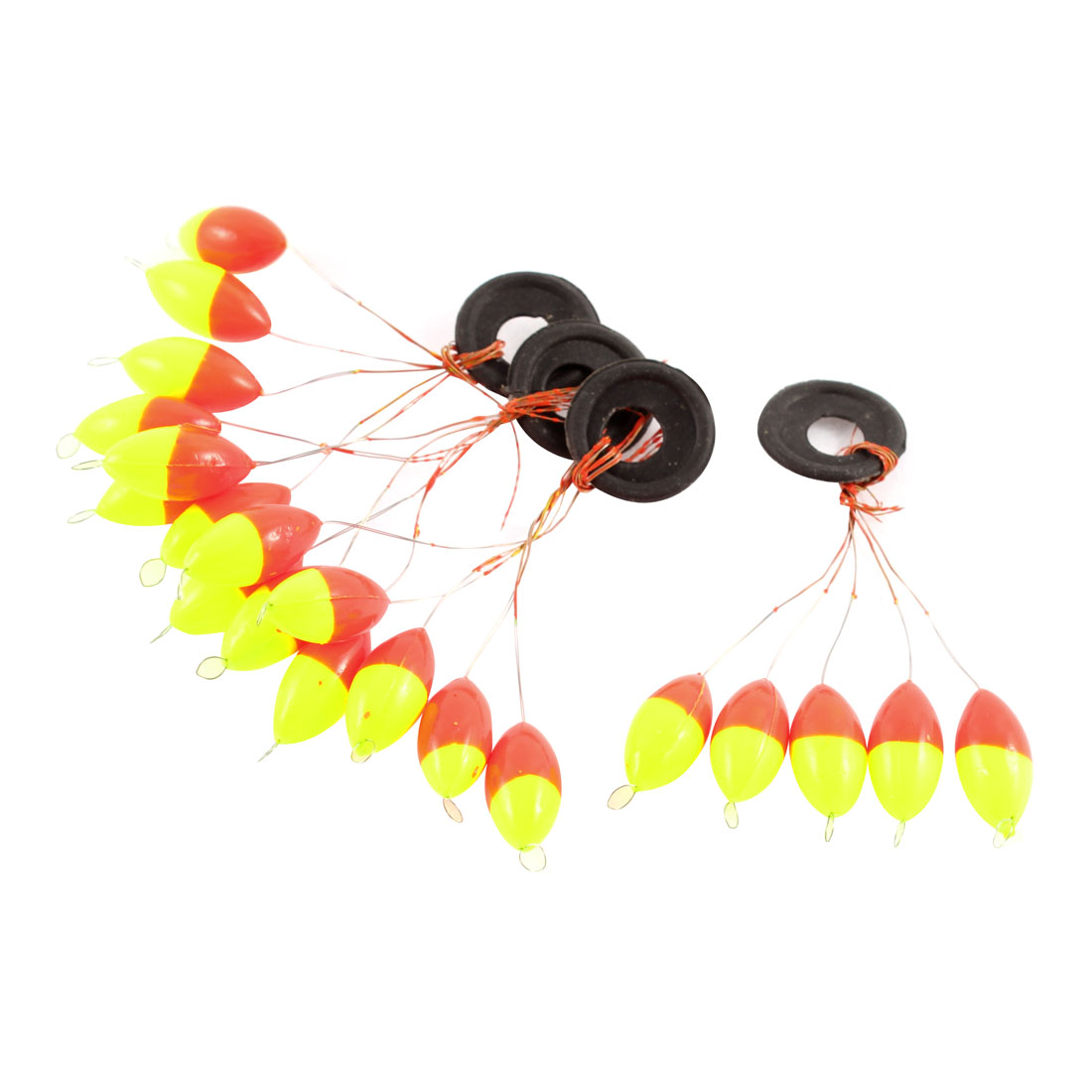 4pcs 5 in 1 Oval Shaped Plastic Bead Fishing Floatable Bobber Stopper Fish Tackle Tool Yellow Red