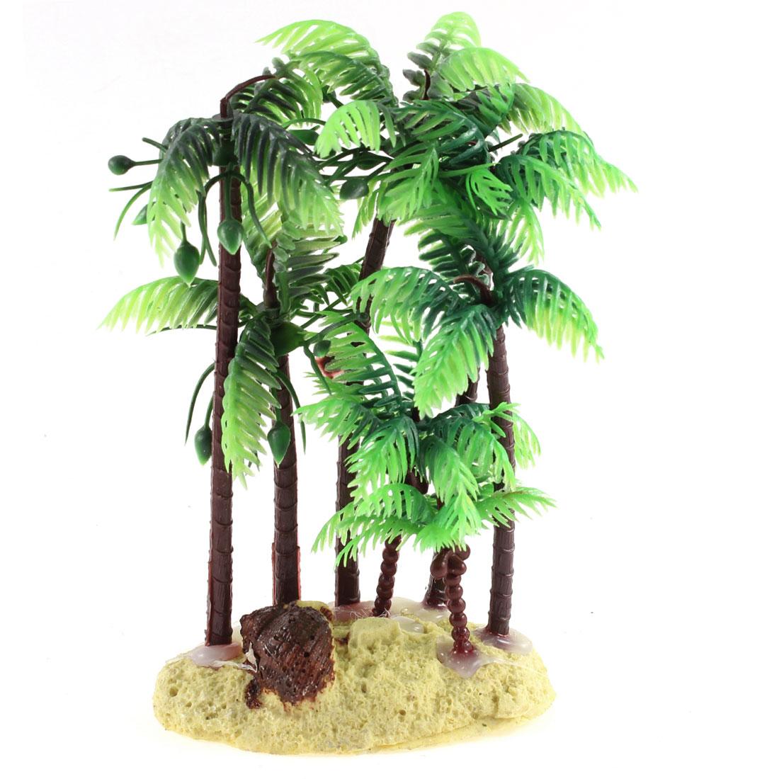 Fish Tank Green Brown Artificial Aquarium Plant Aquatic Coconut Palm Ornament 16cm w Ceramic Base