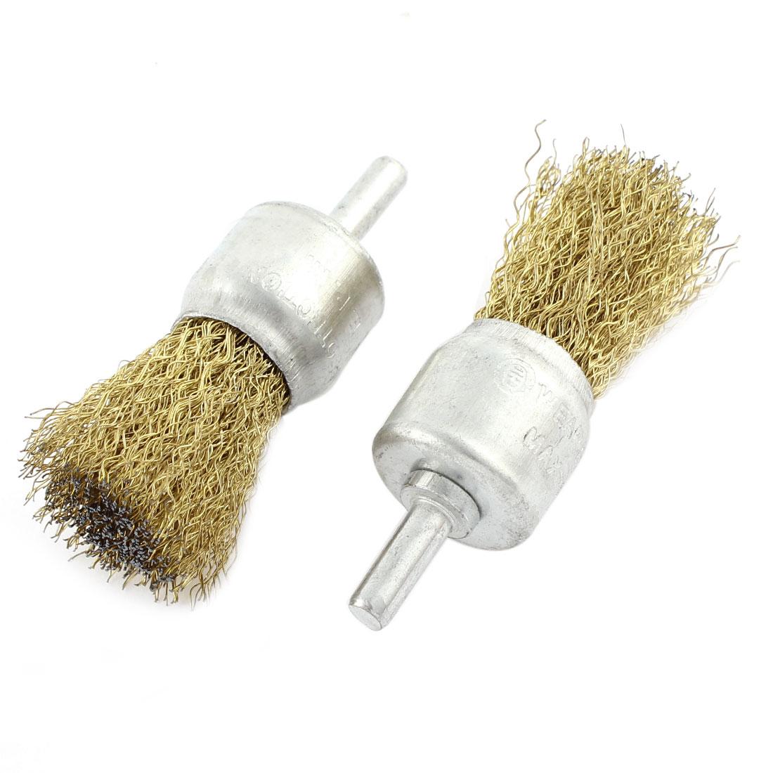 2pcs 24 x 30mm Steel Wire Pen Shape Polishing Grinding Brush Rotary Tool