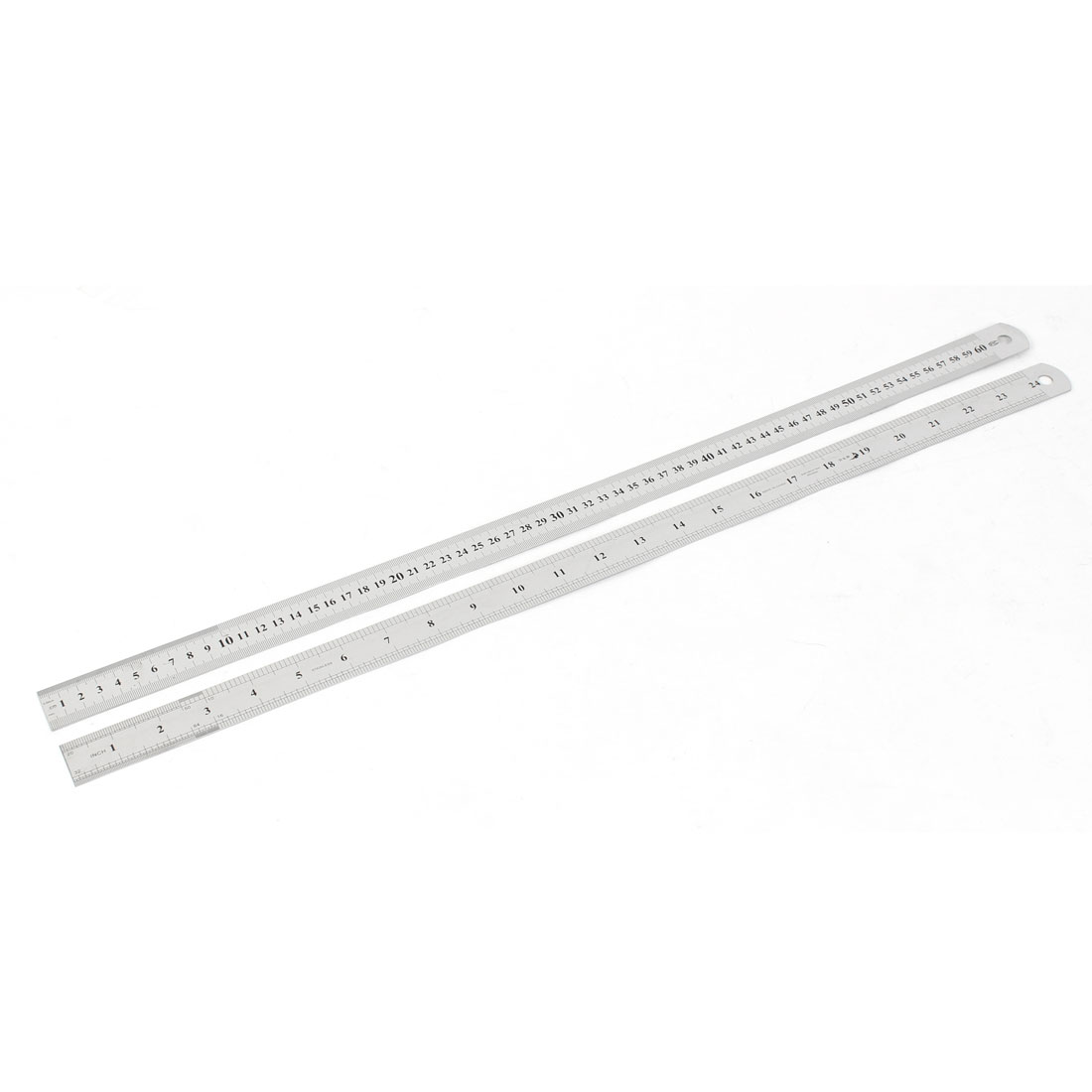 2pcs Dual Side Stainless Steel Straight Edge Ruler Measuring Tool 60cm 24 Inch