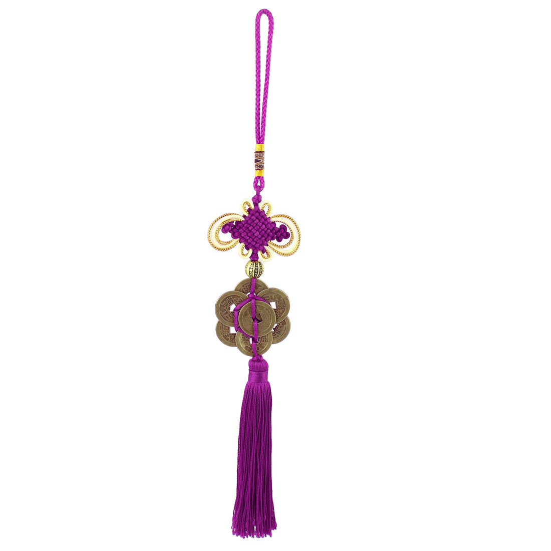 Vehicle Auto Car Chinese Knot 8 Coins Pendant Tassel Charm Hanging Ornament Decoration Gifts Purple