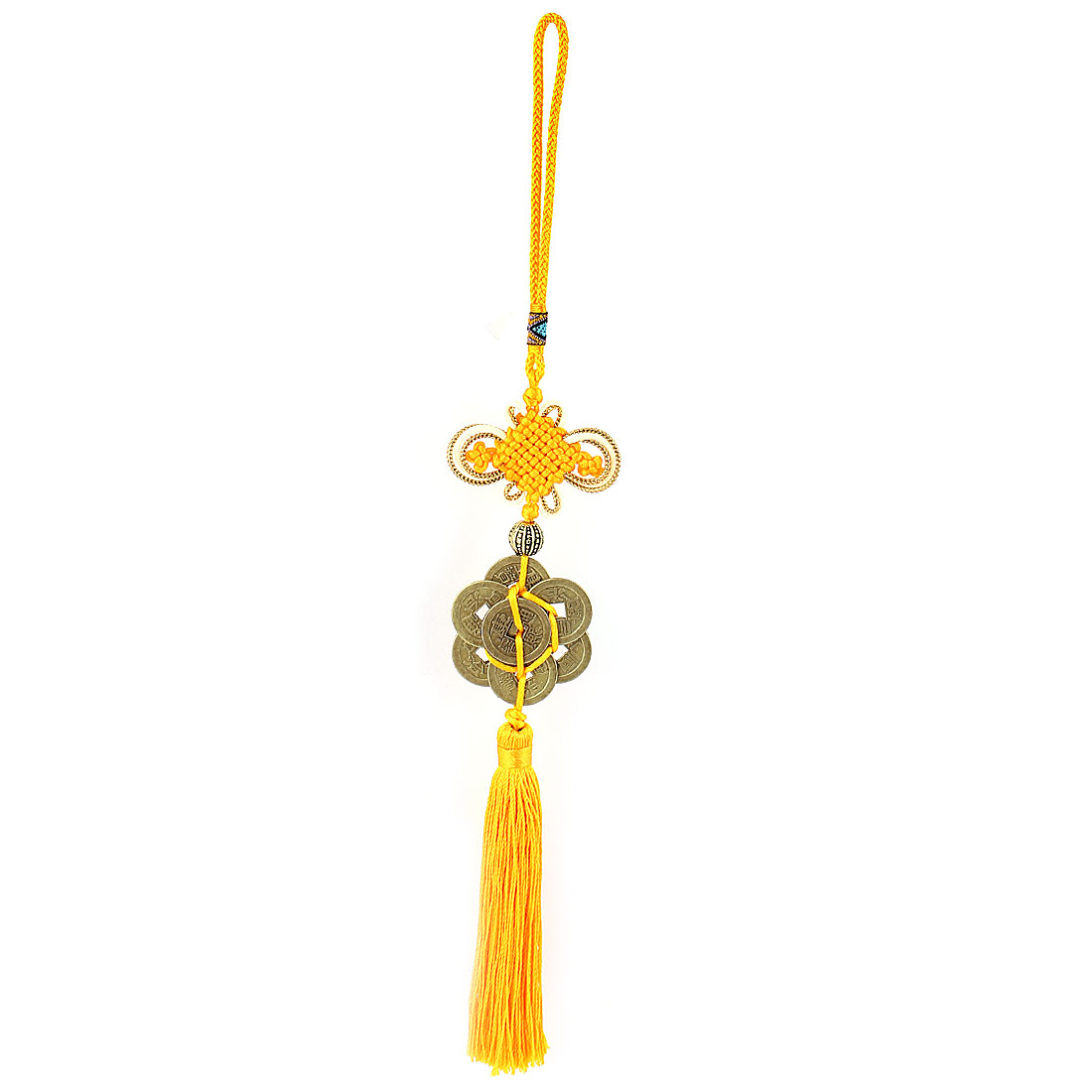 Vehicle Auto Chinese Knot Style Tassel Charm Copper Cash Pendant Hanging Ornament Gifts Decoration Yellow