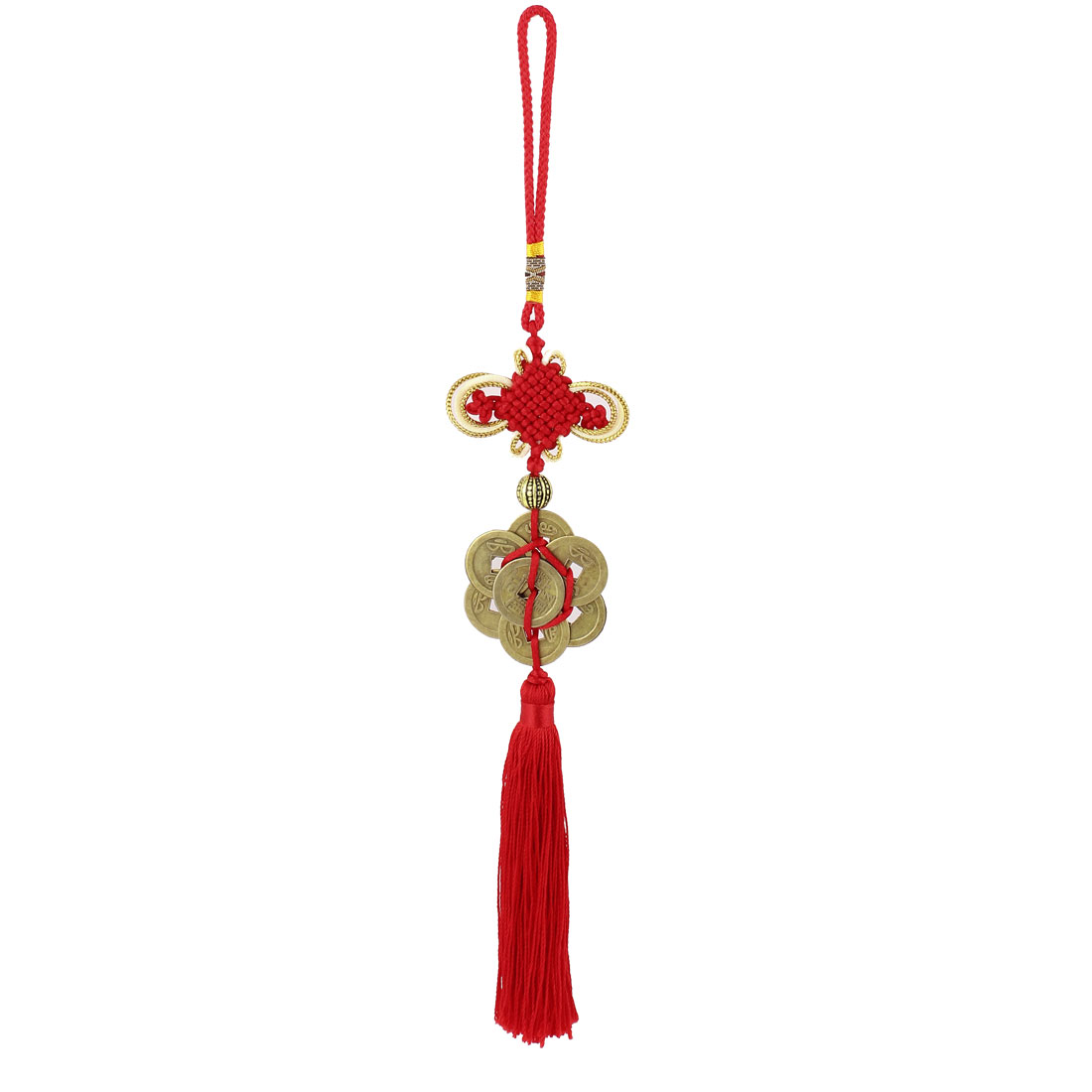 Car Vehicle Auto Chinese Knot Style Tassel Charm Copper Cash Pendant Hanging Ornament Decoration Gifts Red