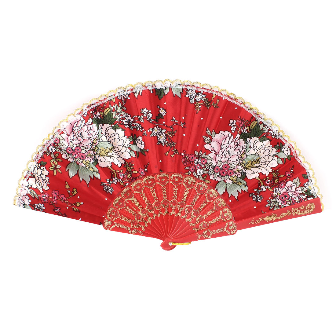 Summer Portable Carving Plastic Rib Blossom Pattern Red Cloth Folding Hand Fan for Party Dancing