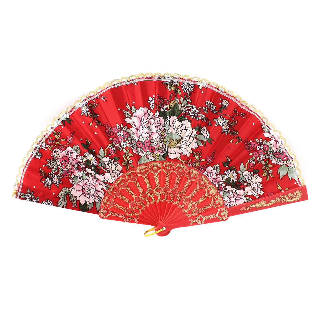 Woman Party Dancing Summer Portable Carving Plastic Rib Flower Pattern Red Cloth Folding Hand Fan