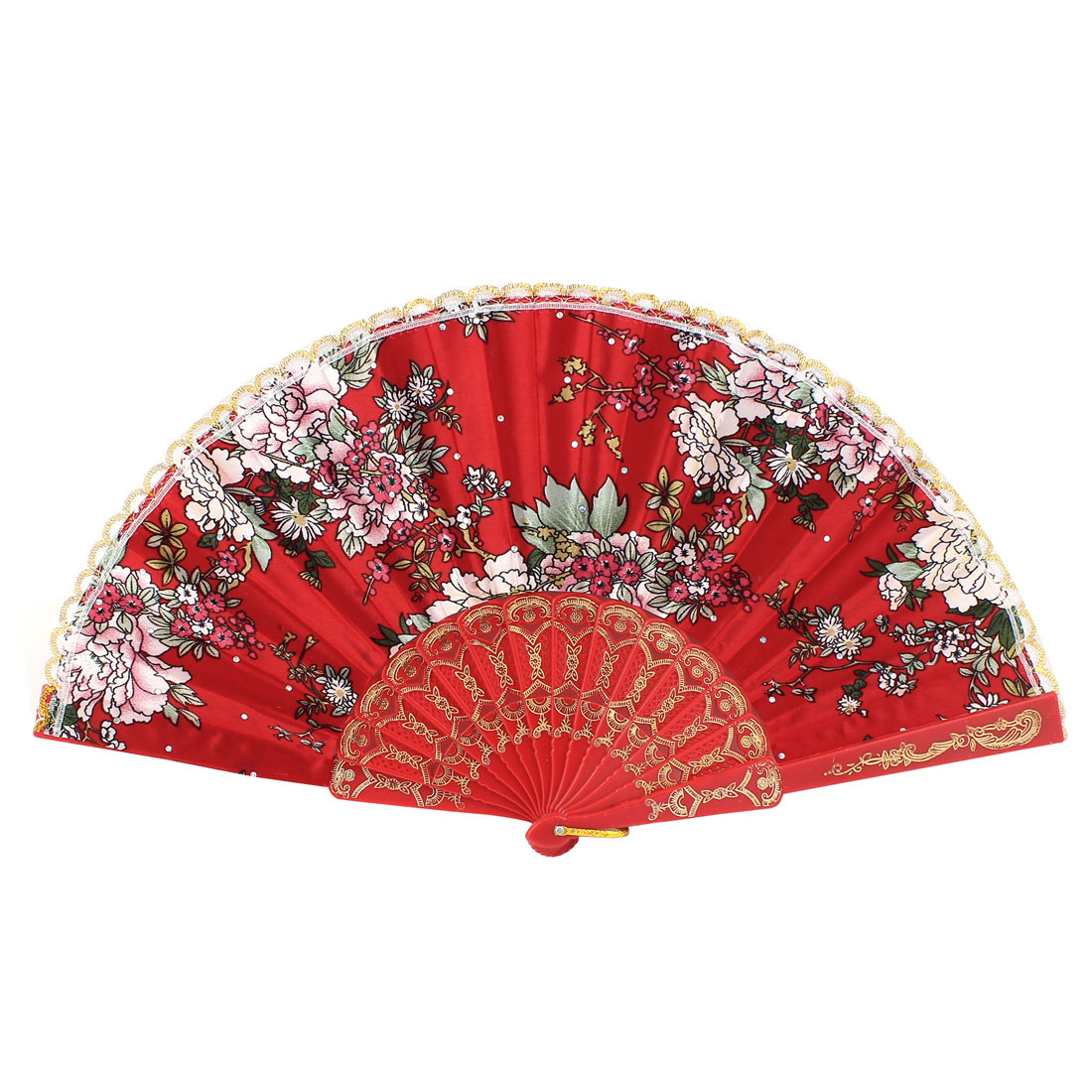 Lady Dancing Show Portable Carving Plastic Rib Floral Pattern Red Cloth Folding Hand Fan