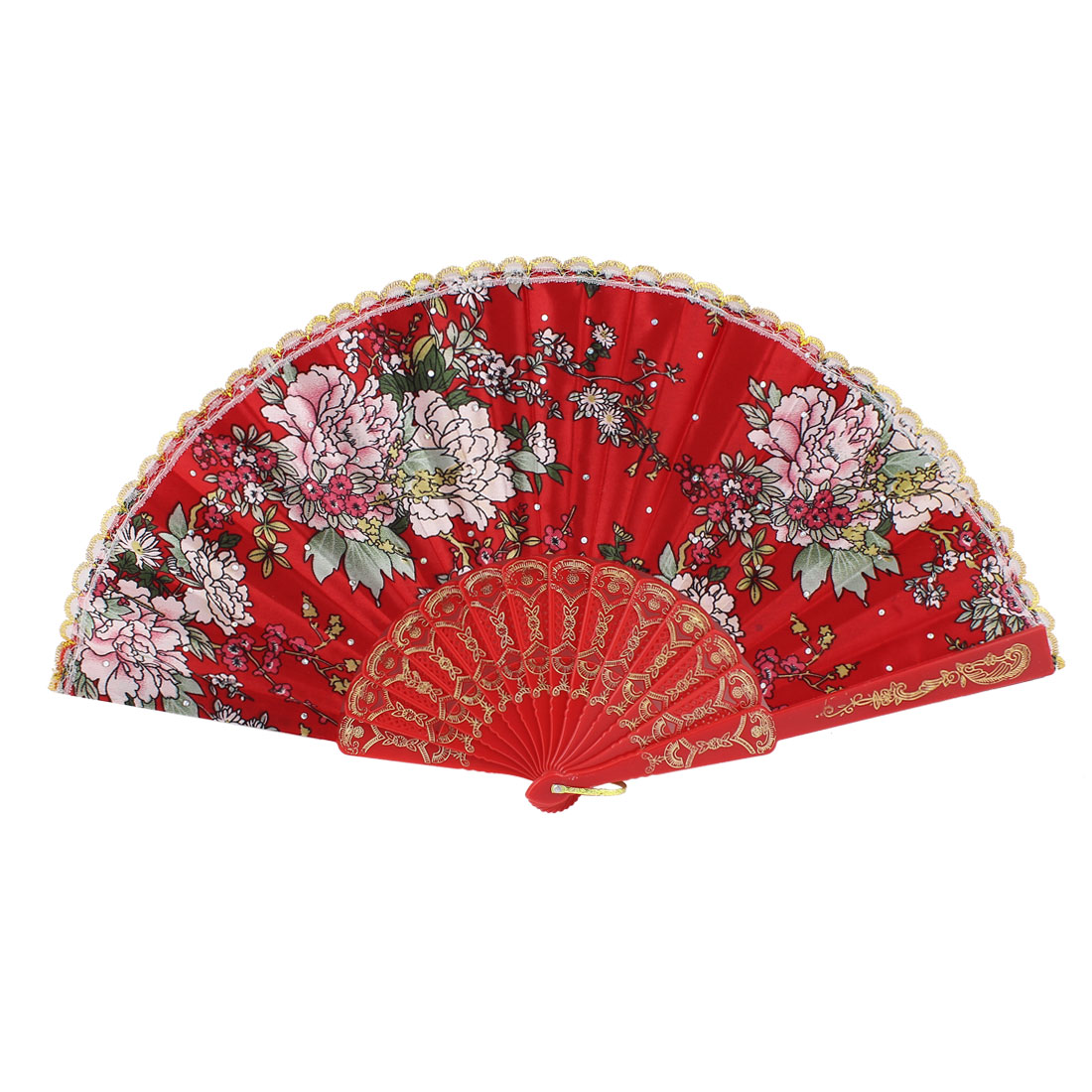 Lady Dance Show Portable Carving Plastic Frame Blossom Printed Red Cloth Folding Hand Fan