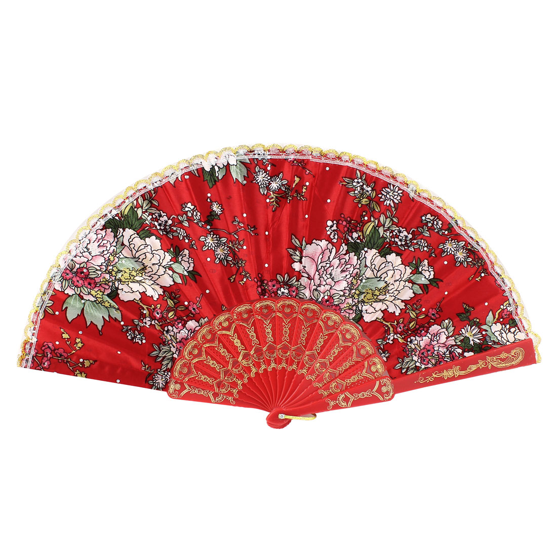Women Party Dancing Plastic Frame Floral Pattern Red Polyester Cloth Folding Hand Fan