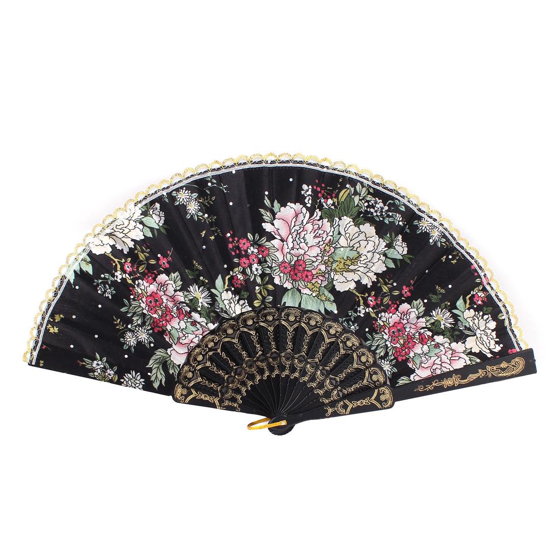 Woman Showing Dancing Plastic Frame Scalloped Rim Brown Beige Flower Pattern Black Polyester Cloth Folding Hand Fan