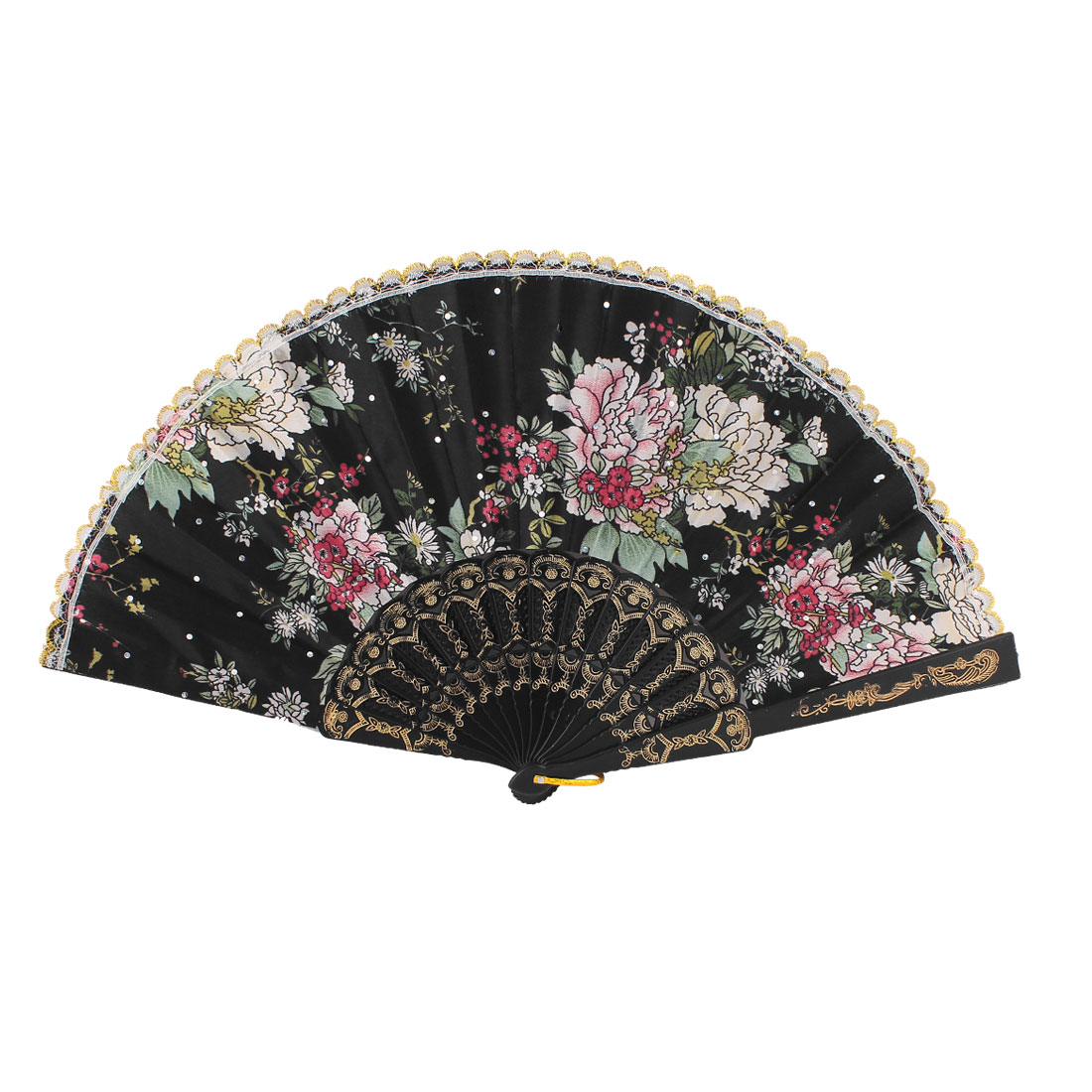 Lady Summer Portable Plastic Frame Khaki White Floral Pattern Black Polyester Cloth Folding Hand Fan